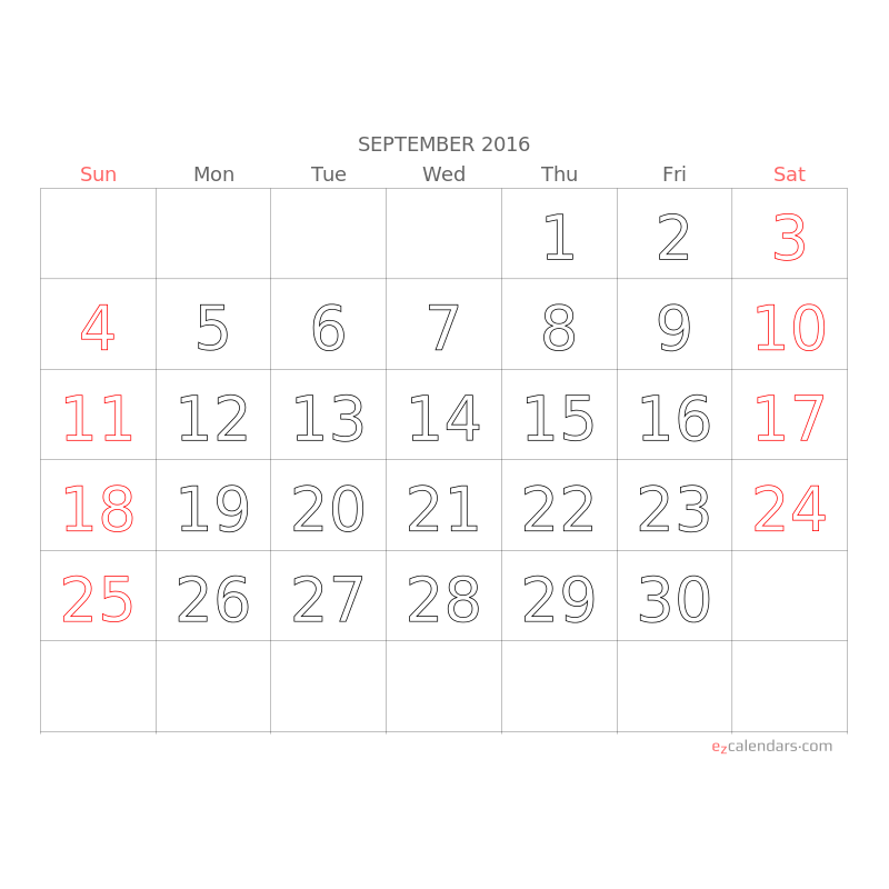 light  big letters  big numbers monthly calendar for 2018