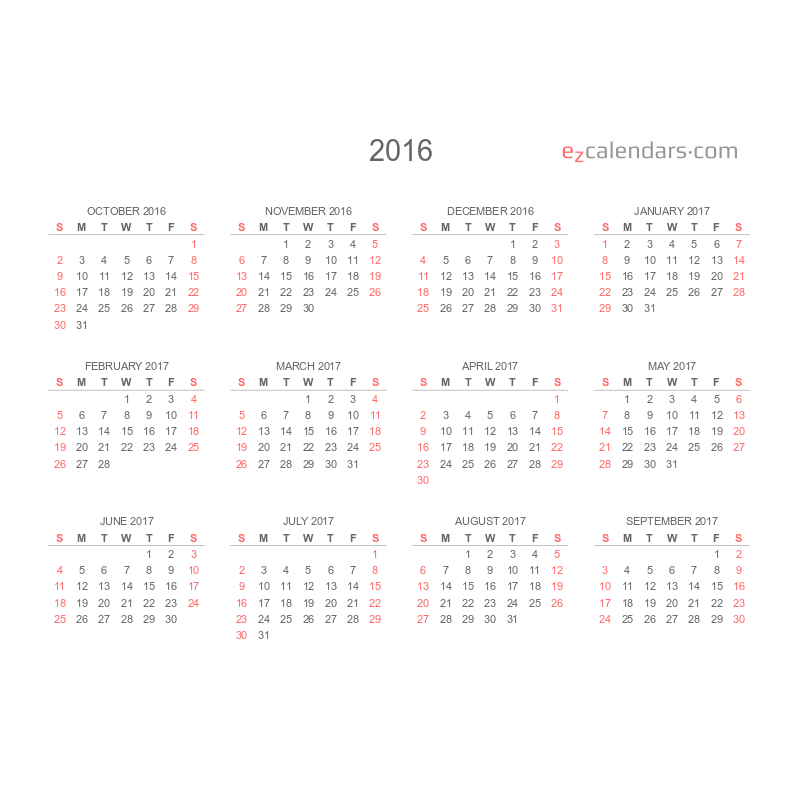 twelve months template