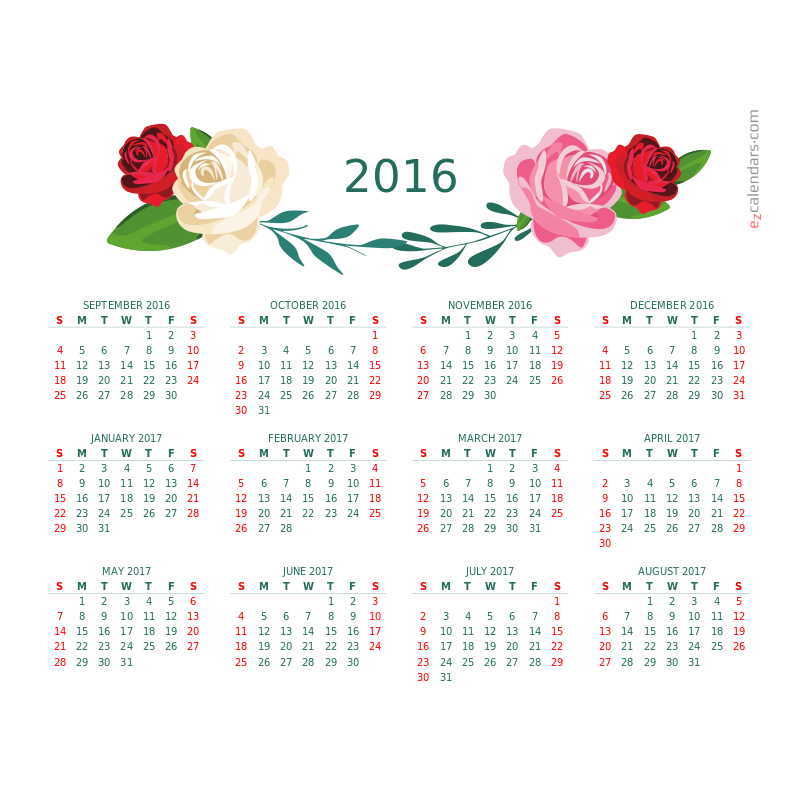 One-year flowers of beauty calendar