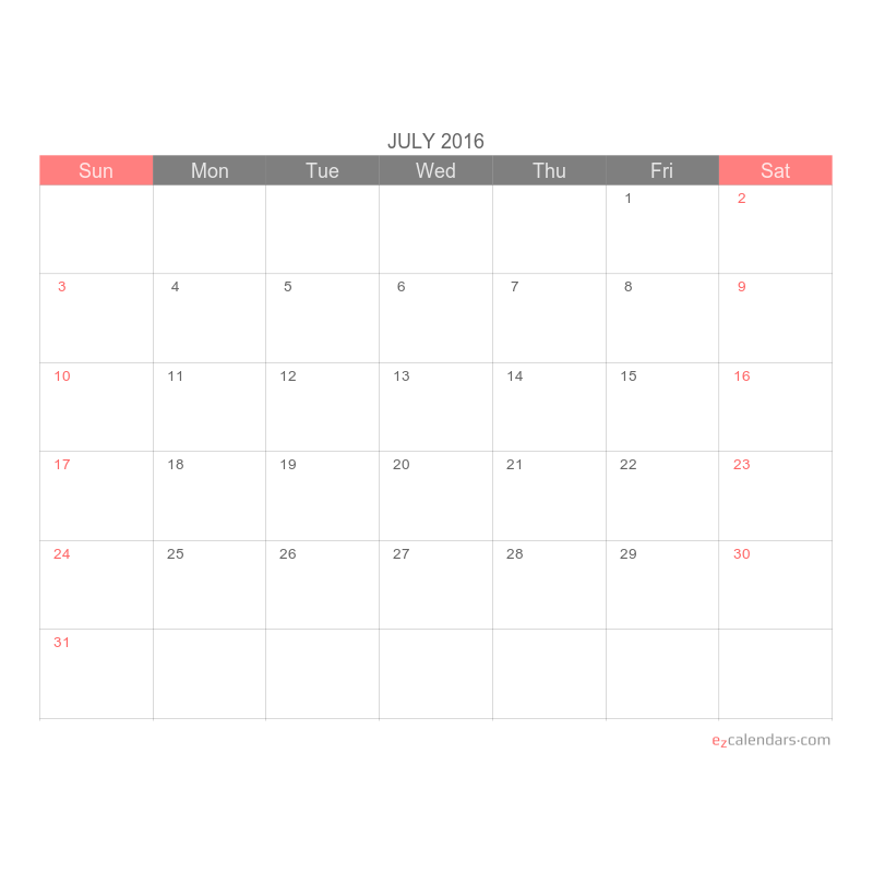 Simple printable one month calendar template - EzCalendars