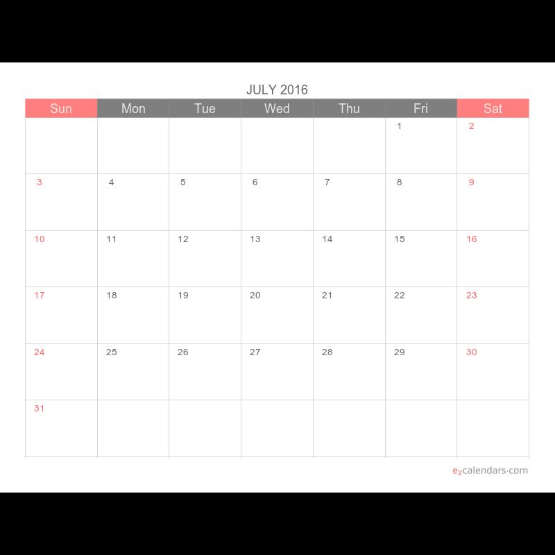 One Calendar.Light And Simple One Month Per Page Calendar Landscape Orientation