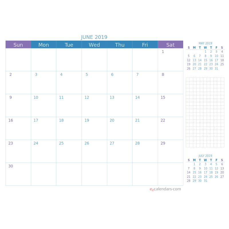 Blue and purple monthly calendar with a view of the previous and next months