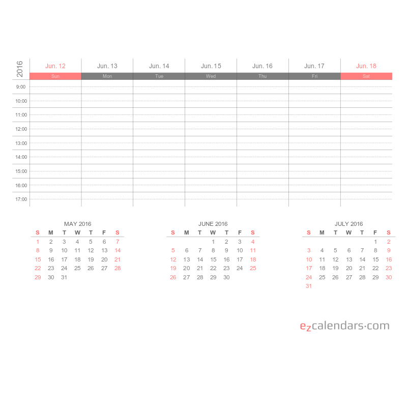 Printable one week appointment calendar PDF EzCalendars – 3 Week Calendar Template