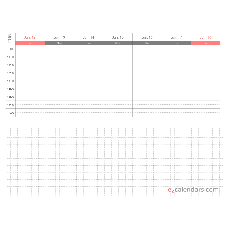 graphic relating to Appointment Calendar Printable titled Weekly appointment calendar template, PDF structure - EzCalendars