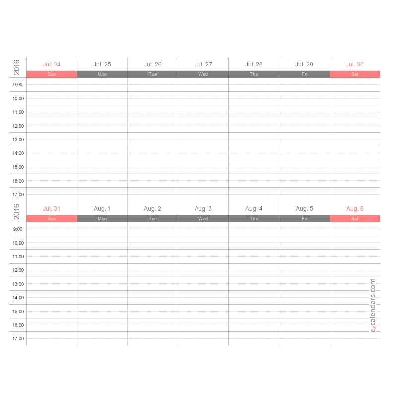 Two weeks appointment schedule template