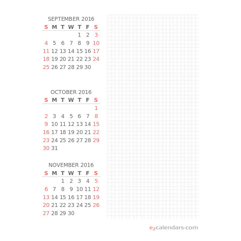 Flexible three month planning calendar