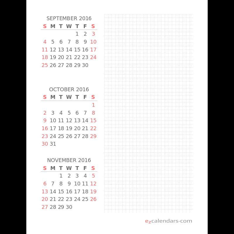three month printable calendar