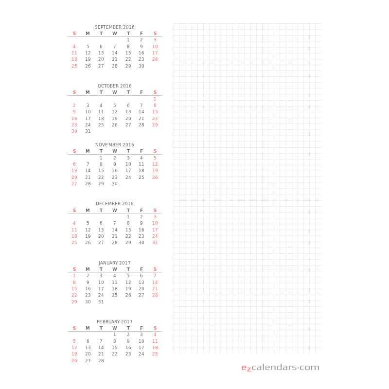 two months per page printable calendar ezcalendars